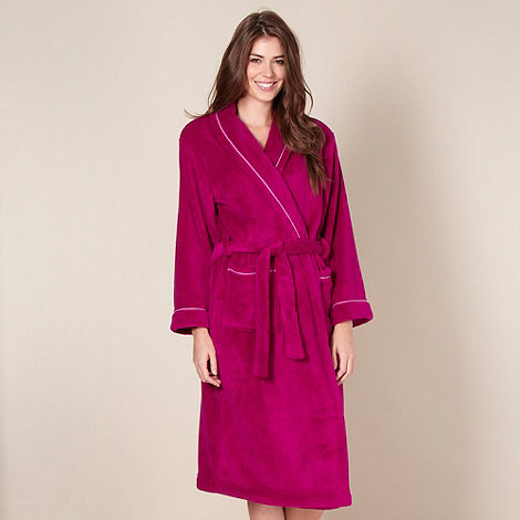 Lounge & Sleep - Dark pink fleece dressing gown