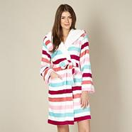 White striped fleece robe