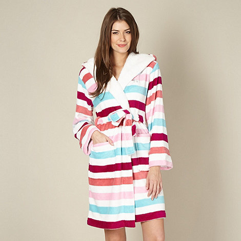 Lounge & Sleep - White striped fleece dressing gown