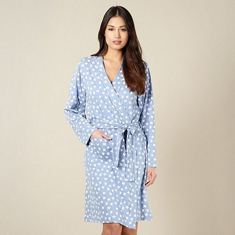 Lounge & Sleep - Blue butterfly printed dressing gown