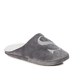 Lounge & Sleep - Grey embroidered letter 'S' mule slippers