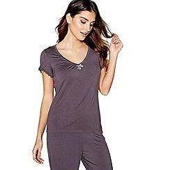 J by Jasper Conran - Dark grey 'Hygge' short sleeve pyjama top