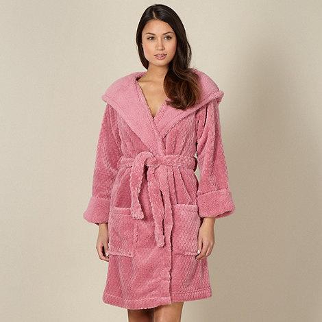 RJR.John Rocha - Designer pink waffle textured fleece dressing gown