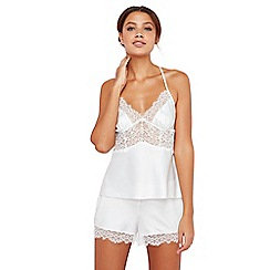 The Collection - White lace satin pyjama set