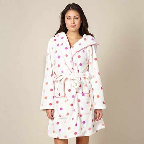 Floozie by Frost French - White spotted fleece dressing gown