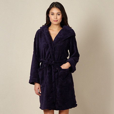 Floozie by Frost French - Dark purple flower textured dressing gown