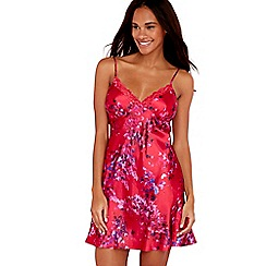 The Collection - Red floral print satin chemise