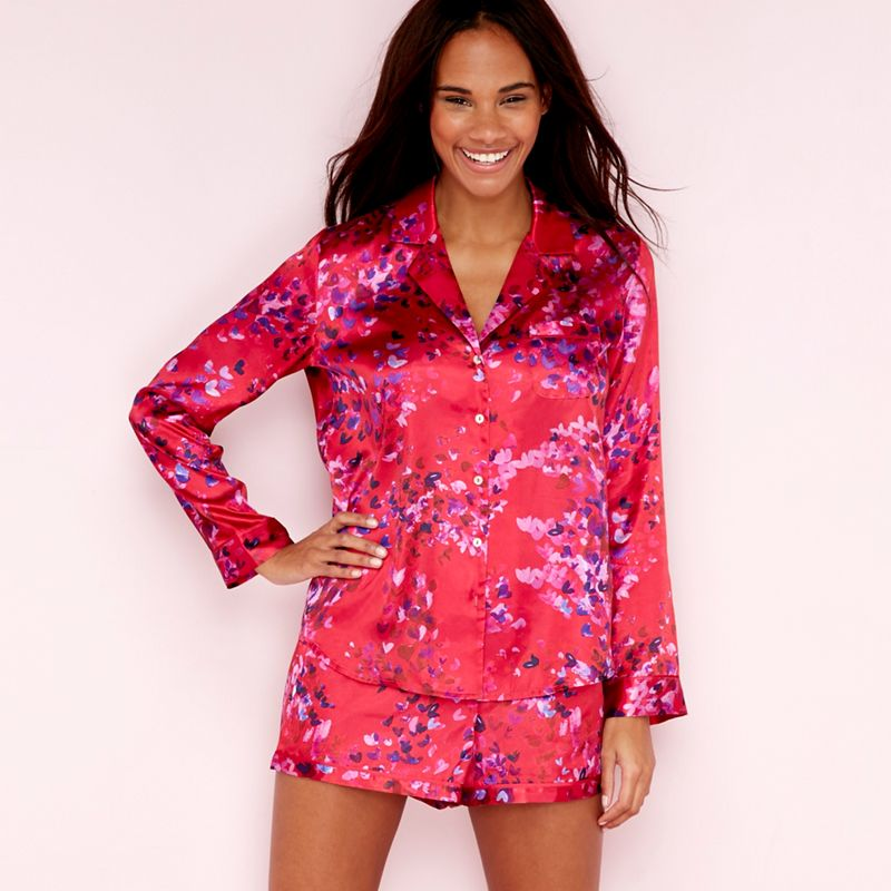The Collection - Red Floral Confetti Print Satin Long