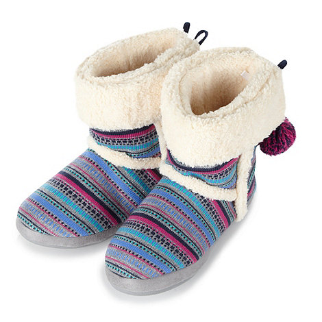Iris & Edie - Blue aztec striped slipper boots