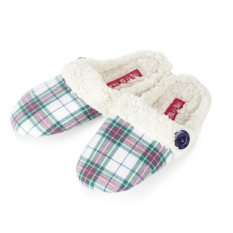 Iris & Edie - Cream fleece lined checked mule slippers