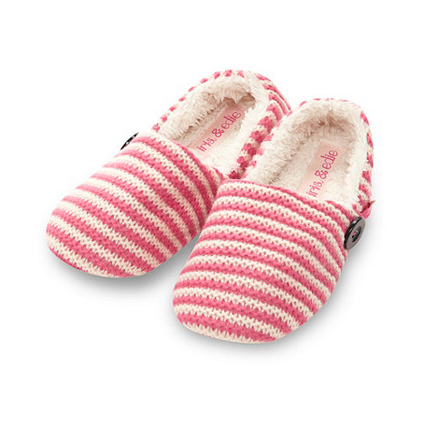 Iris & Edie - Designer pink striped knitted mule slippers