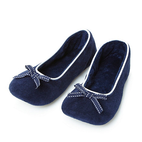 J by Jasper Conran - Designer navy bow velour slippers