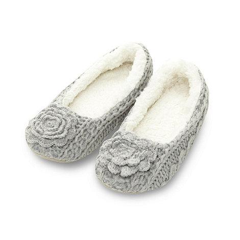RJR.John Rocha - Designer grey corsage ballet slippers