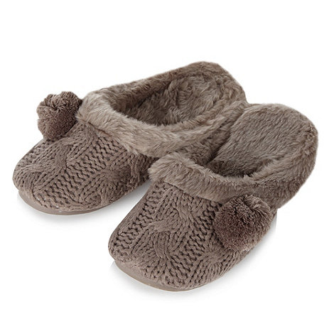 RJR.John Rocha - Designer taupe cable knit mule slippers