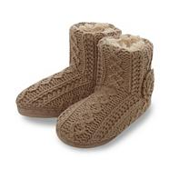 Designer light brown knitted slipper boots