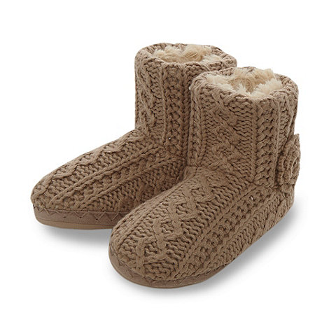 RJR.John Rocha - Designer light brown knitted slipper boots