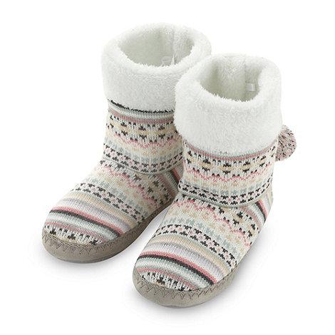 RJR.John Rocha - Designer cream jacquard fairisle knit slipper boots
