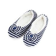 Navy striped faux fur ballet slippers