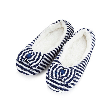 Lounge & Sleep - Navy striped faux fur ballet slippers