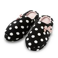 Black spotted fleece mule slippers