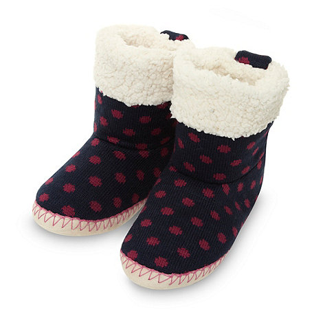 Lounge & Sleep - Navy knitted spotted fleece boot slippers