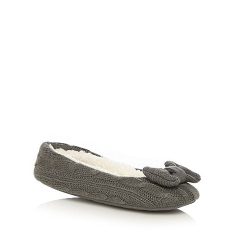 Iris & Edie - Dark grey cable knit ballet slippers