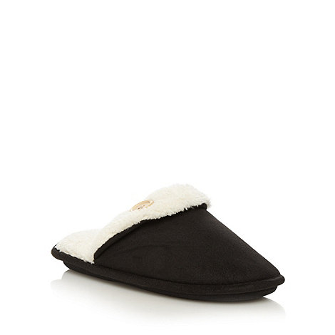Lounge & Sleep - Black fleece lined button detail mule slippers
