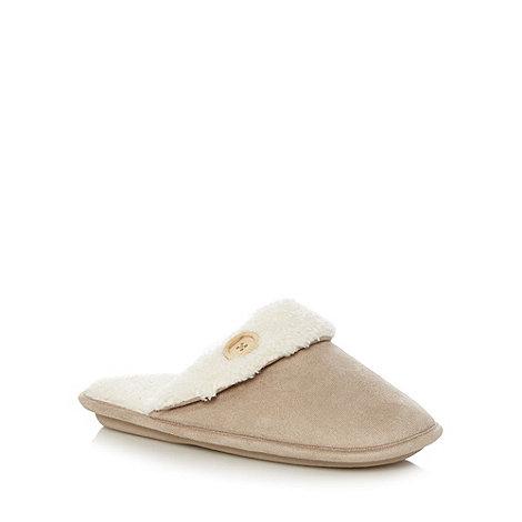 Lounge & Sleep - Beige fleece lined button detail mule slippers