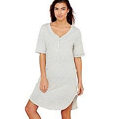 Lounge & Sleep - Grey striped print cotton blend 'Wall Flower' nightdress