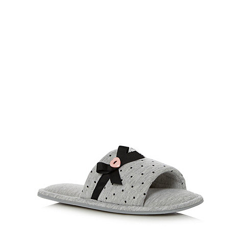 Lounge & Sleep - Grey spotted jersey open toe mule slippers
