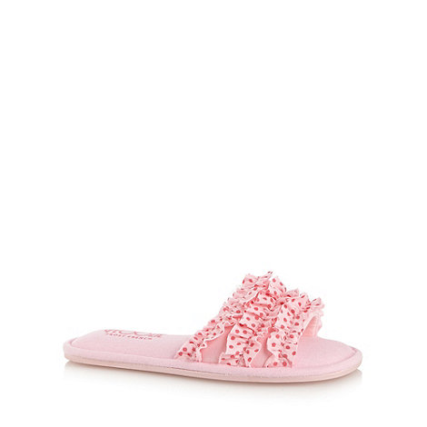 Floozie by Frost French - Pink ruffled open toe mule slippers