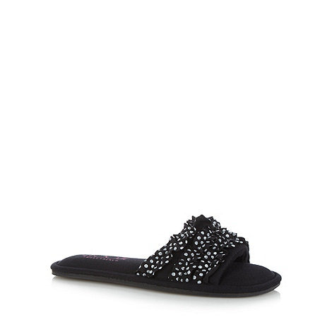 Floozie by Frost French - Black ruffled open toe mule slippers