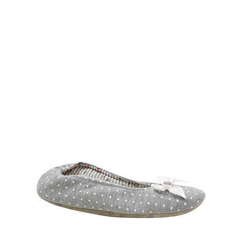 Lounge & Sleep - Grey spotted jersey ballet slippers