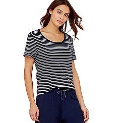 Lounge & Sleep - Navy stripe print pure cotton short sleeve pyjama top