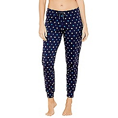 Lounge & Sleep - Navy spot print cotton pyjama bottoms