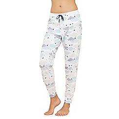 Lounge & Sleep - White cloud print cotton pyjama bottoms