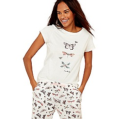 Lounge & Sleep - White butterfly print cotton blend pyjama top