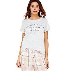 Lounge & Sleep - Grey slogan cotton pyjama top