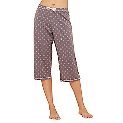 Lounge & Sleep - Grey spot print cotton cropped trousers