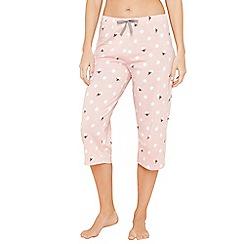 Lounge & Sleep - Light pink spot bee print pyjama bottoms