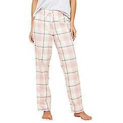 Lounge & Sleep - Pink check print cotton pyjama bottoms
