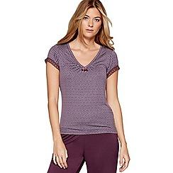J by Jasper Conran - Purple geometric print 'City Chic' short sleeve pyjama top