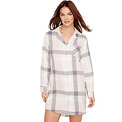 Lounge & Sleep - Grey check print cotton nightshirt