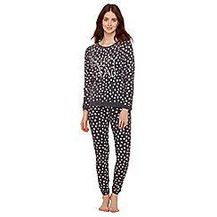 Lounge & Sleep - Dark grey dot print cotton blend long sleeve pyjama set