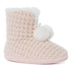 Lounge & Sleep - Pink metallic knit slipper boots