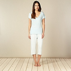 Lounge & Sleep - Light blue plain top and striped bottoms pyjama set