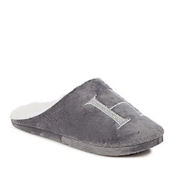 Lounge & Sleep - Grey embroidered letter 'H' mule slippers
