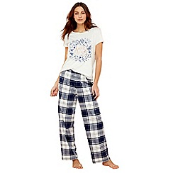 Lounge & Sleep - Blue check print short sleeve pyjama set