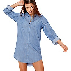 Lounge & Sleep - Blue 'Good vibes' long sleeve nightshirt