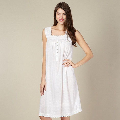 Lounge & Sleep - White spotted and broderie night dress